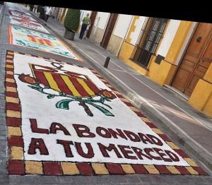 Sandbilder anlässlich einer Prozession (Jerez)